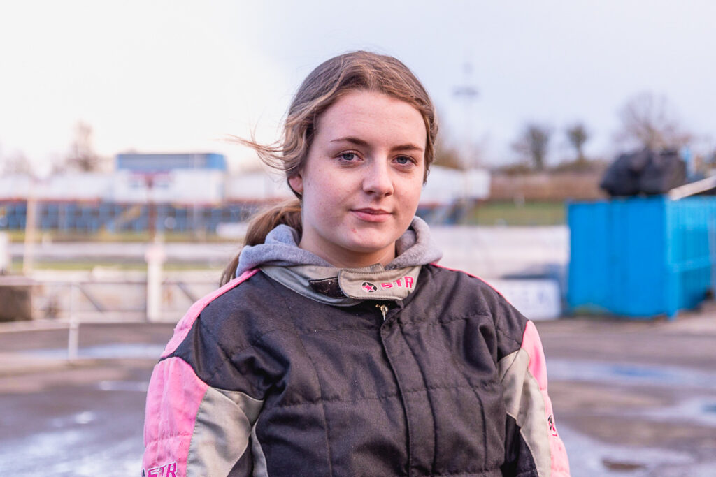 Taylor Borthwick Teenager Stock Car Racer Portrait image in front of racing tracks