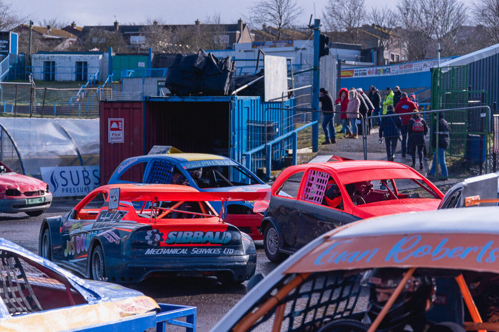Stock Car Race cars entering race track in Scotland