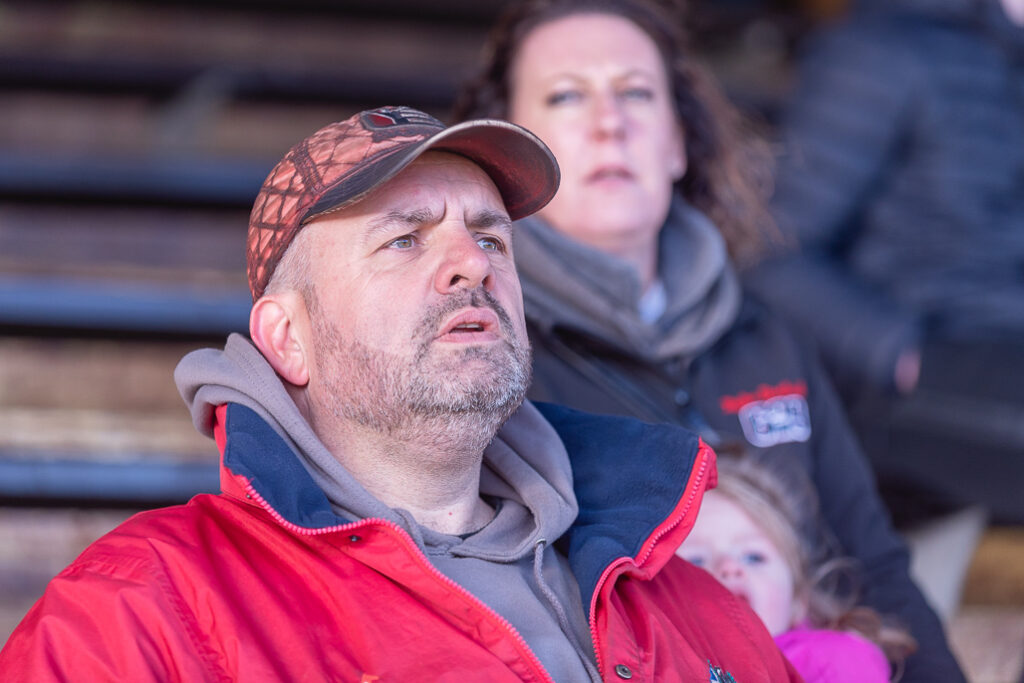 Taylor Borthwick Teenager Stock Car Racer's father watching his daughter race